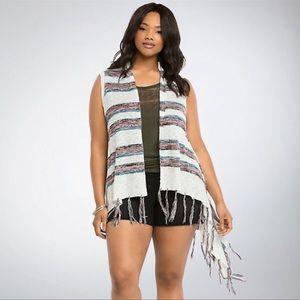 Torrid Striped Tassel Cardigan Vest